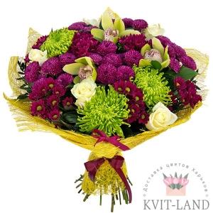хризантема с орхидеей букет