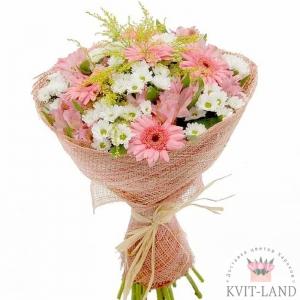 букет из хризантемы с герберой
