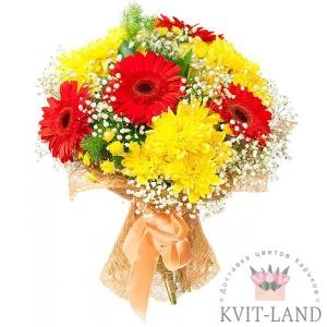 букет из желтой хризантемы и герберы