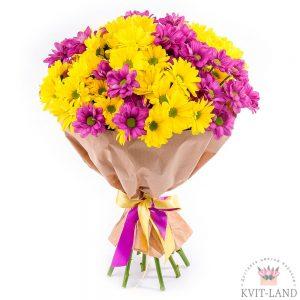 букет из розовой и желтых хризантем