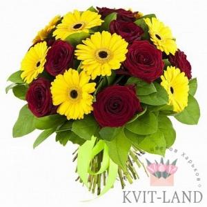 букет из розы и герберы
