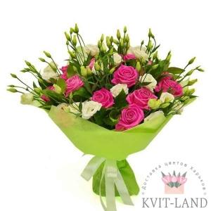 букет эустомы с розой