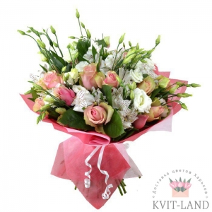 букет из розы и эустомы