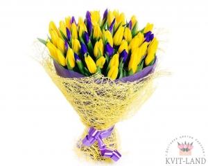 ирис и тюльпан желтый букет