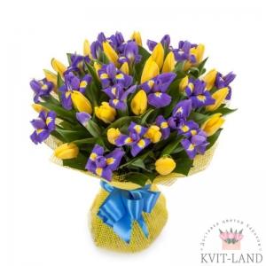 букет с тюльпаном и ирисом