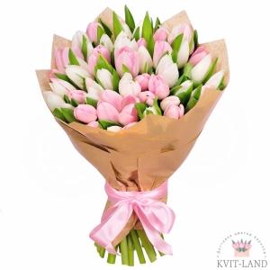 белый и розовый тюльпан букет