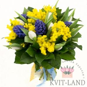 с мимозой букет цветов