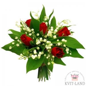 красная роза и ландыш в букете