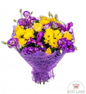 букет из хризантемы ириса эустомы