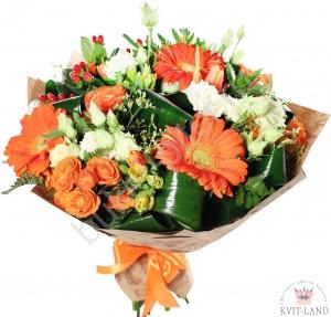 оранжево-белый букет цветов