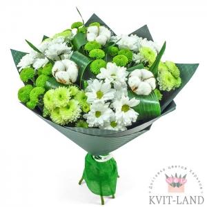 цветы с хлопком в букете