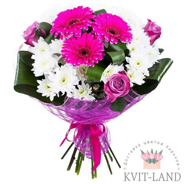 букет из хризантемы и розовой герберы