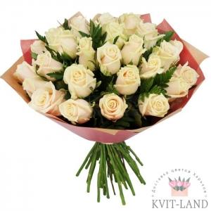 букет из кремовой розы 25 шт