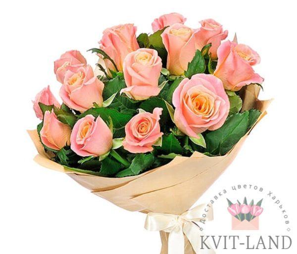 букет из светло-розовой розы