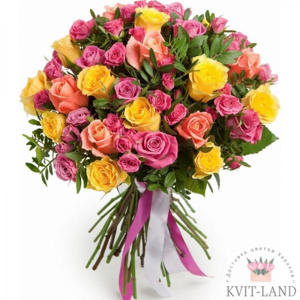 букет из разной розы