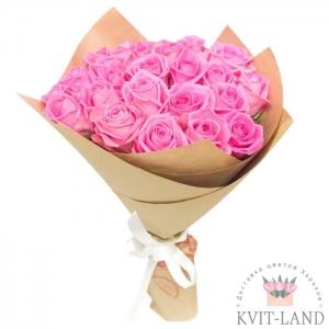 розовая роза букет в крафте