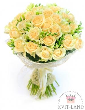 кремовая роза 25 шт в букете
