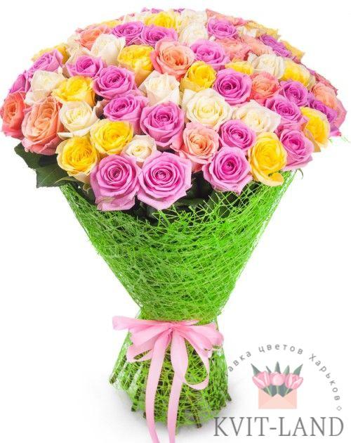букет из разноцветной розы