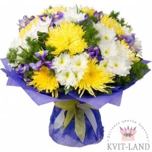 хризантема и ирис в букете