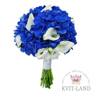 свадебный букет в бело-синем цвете