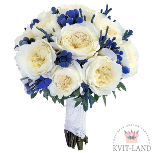 букет невесты бело-синего цвета