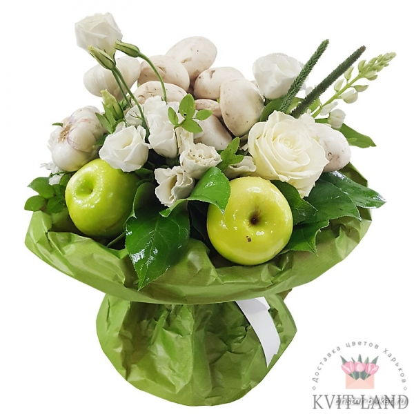 фрукты с цветами в букете