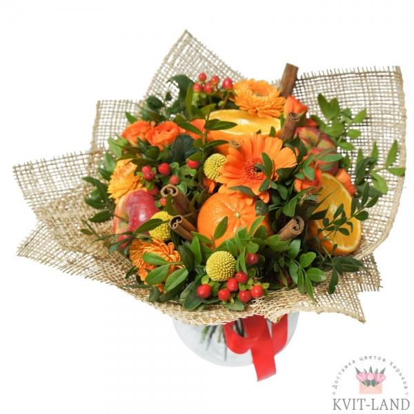 овощной букет с цветами