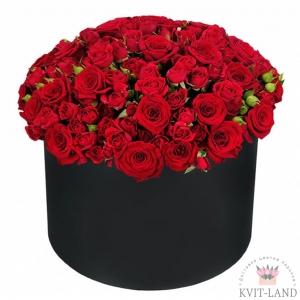 корбка с красной розой