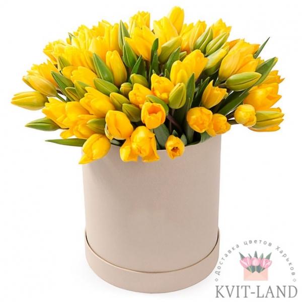 шляпная коробка с желтым тюльпаном