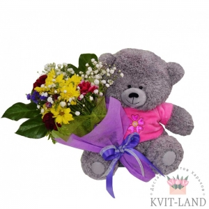 игрушка мишка с букетом цветов