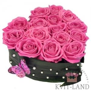 коробка сердце с розой