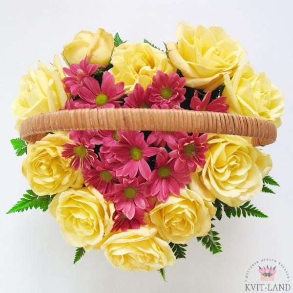 корзинка с цветами в каркасе сердце