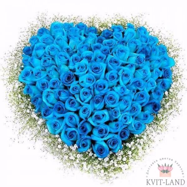 синяя роза в каркасе сердце