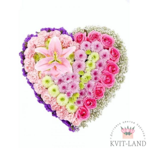 красивое сердце из цветов