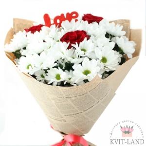 цветы с открыткой любовь