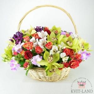 корзина с красивыми цветами
