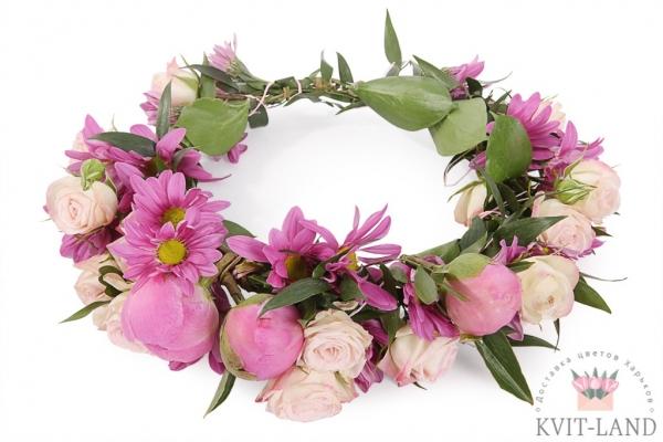 свадебная диадема из цветов