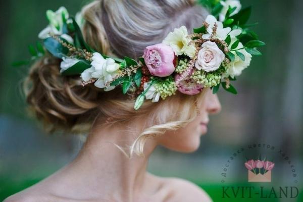 свадебная цветочная диадема