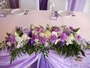 цветочная композиция на свадебном столе