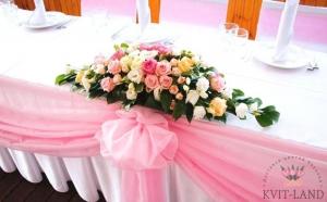 оформление цветами банкетного стола