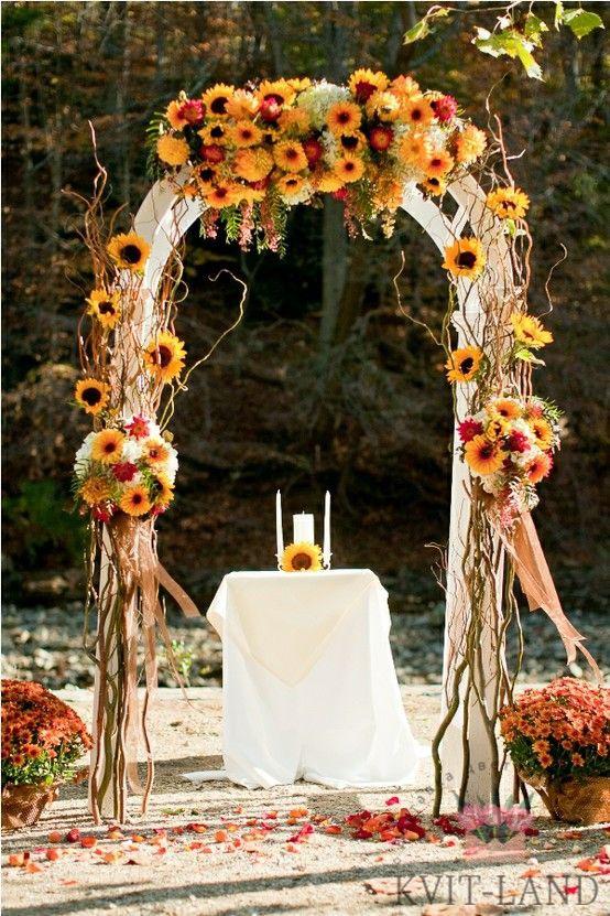 подсолнухи на свадебной арке