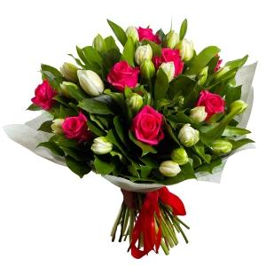 роза и тюльпан в букете