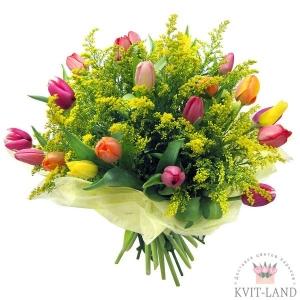 букет тюльпан и мимоза