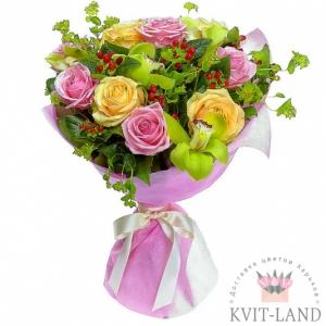 букет из розы и орхидеи