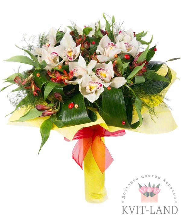 красивый букет с орхидеи