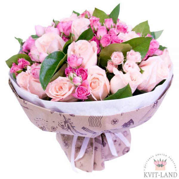 букет в розовом цвете