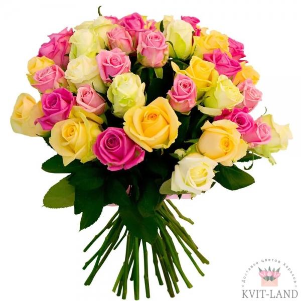 25 разных роз букет