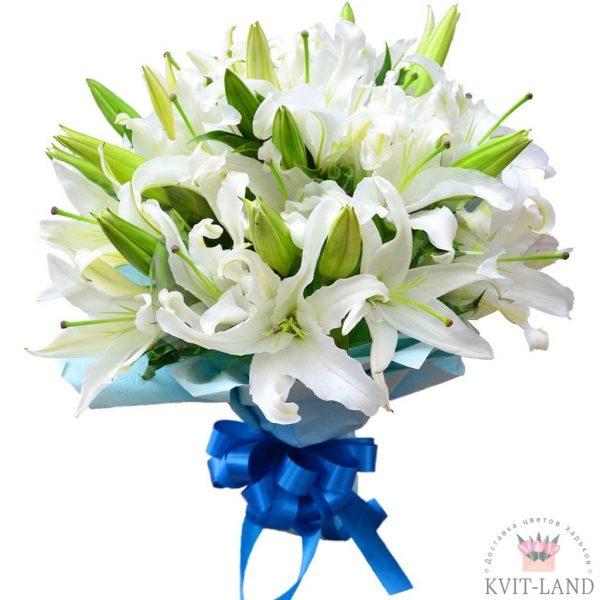 букет из белой лилии