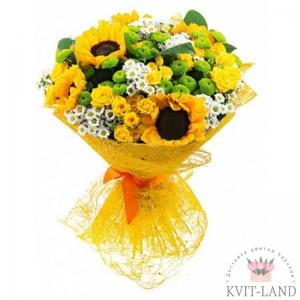 букет из хризантемы и подсолнуха