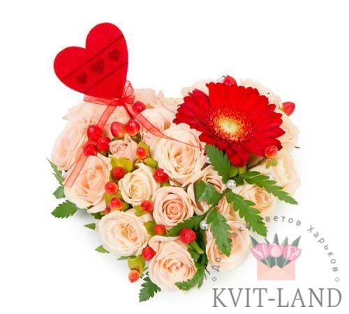 розовый букет сердце
